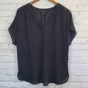 Banana Republic Black Pinhole Dots Sheer Blouse